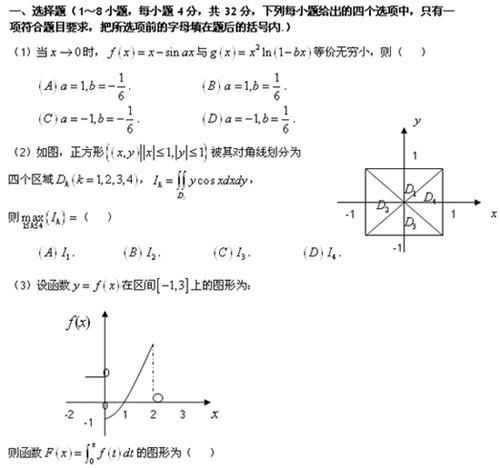 2009年全国硕士研究生统一考试数学一