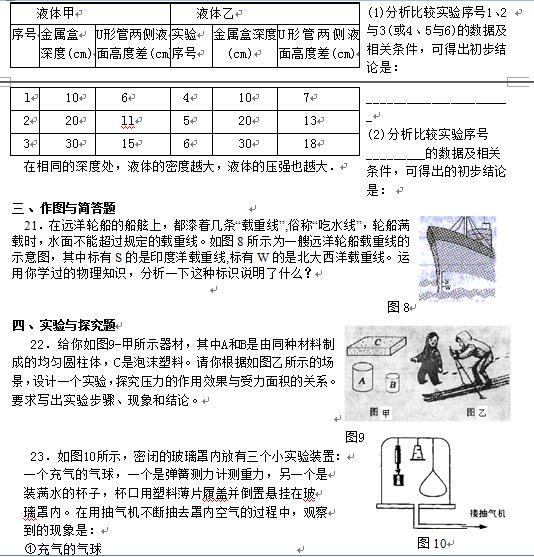 初中物理提高训练:压强与浮力