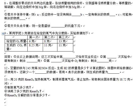 复习专题:有关化学方程式的计算