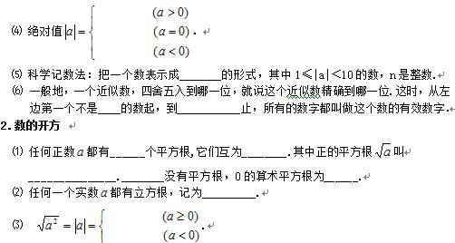 初一数学知识点:实数的有关概念