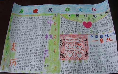 中学生中秋节手抄报:走进民族文化