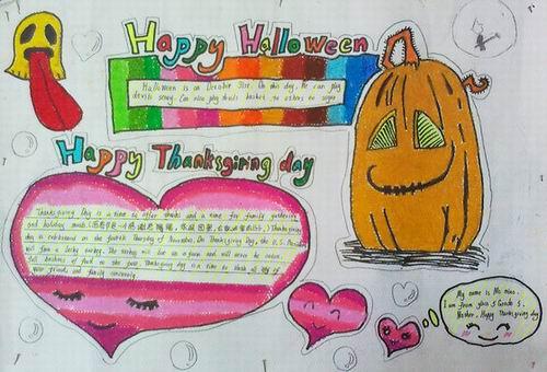 中学生万圣节英语手抄报 万圣节和感恩节