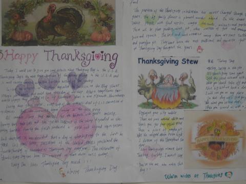 感恩节英语手抄报欣赏图片
