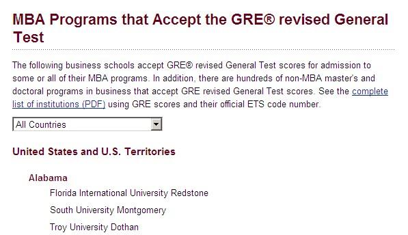 ETS接受GRE成绩的商科院校名单
