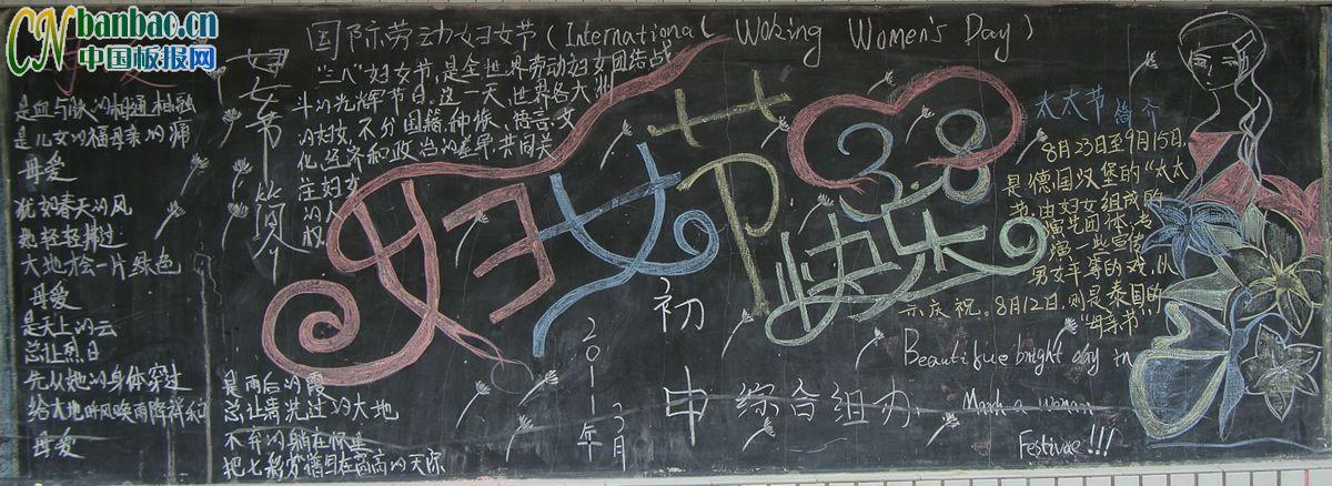 妇女节快乐黑板报版面设计图