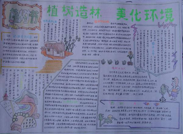 小学生植树节手抄报图片:美化环境