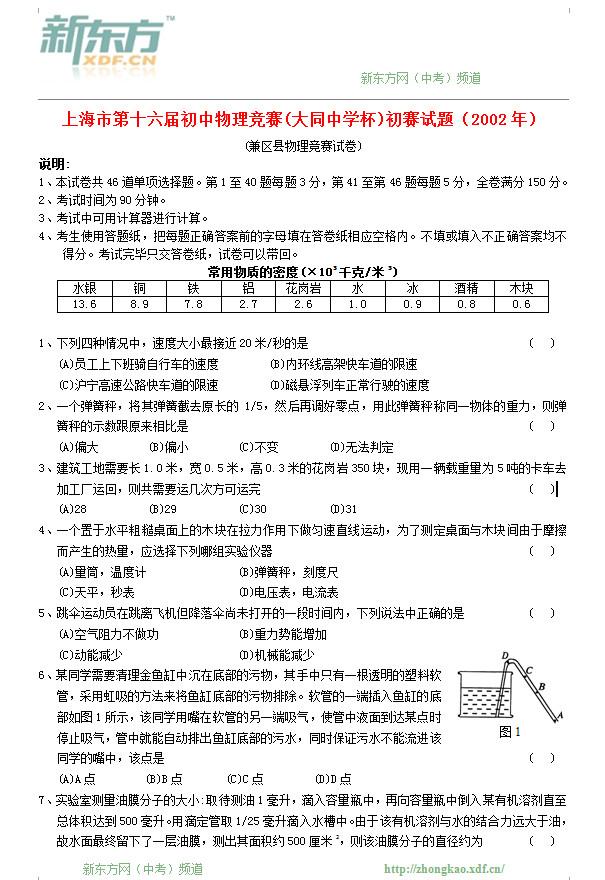 2002上海市第十六届物理大同杯初赛试题及答案
