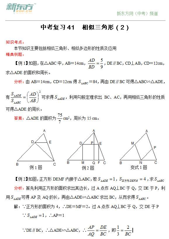 [新人教版]2014中考数学二轮复习41_相似三角形(2)