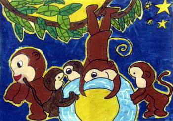猴子捞月简笔画大全