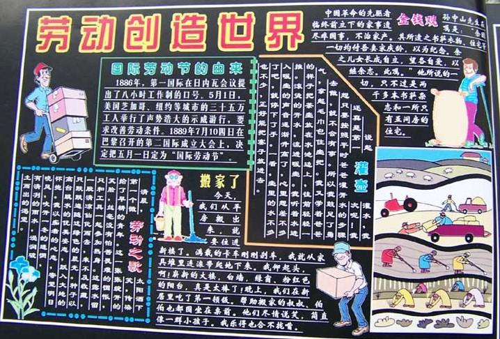 幼儿园大班劳动节黑板报主题:劳动创造世界