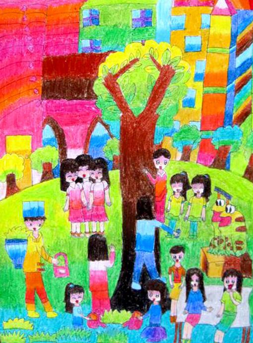 有关六一儿童节的画 儿童节壁纸绘画作品