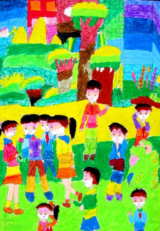 儿童节壁纸绘画作品 小学生关于六一儿童节图画精选