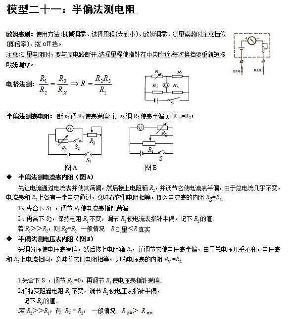北京高考常用24个物理模型:半偏法测电阻_新华