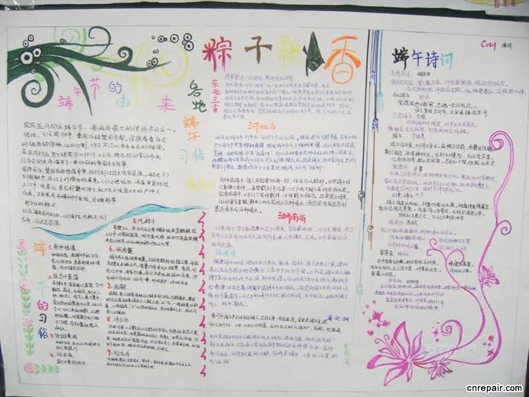小学生端午节手抄报 端午节粽子飘香