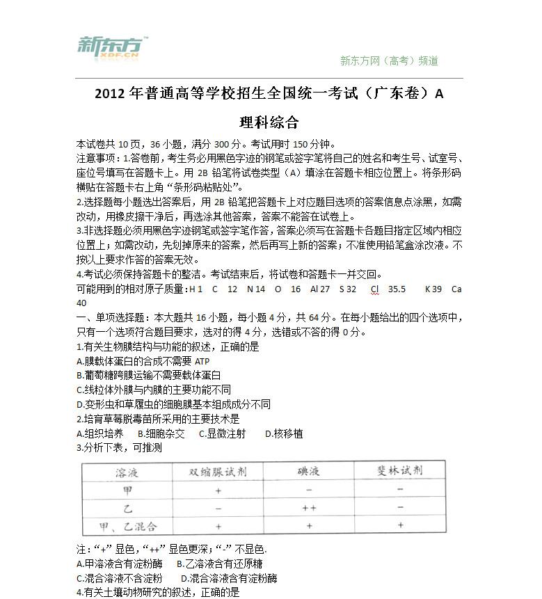 2012广东高考理综试卷下载
