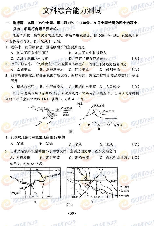 2012江西高考文综试题答案1