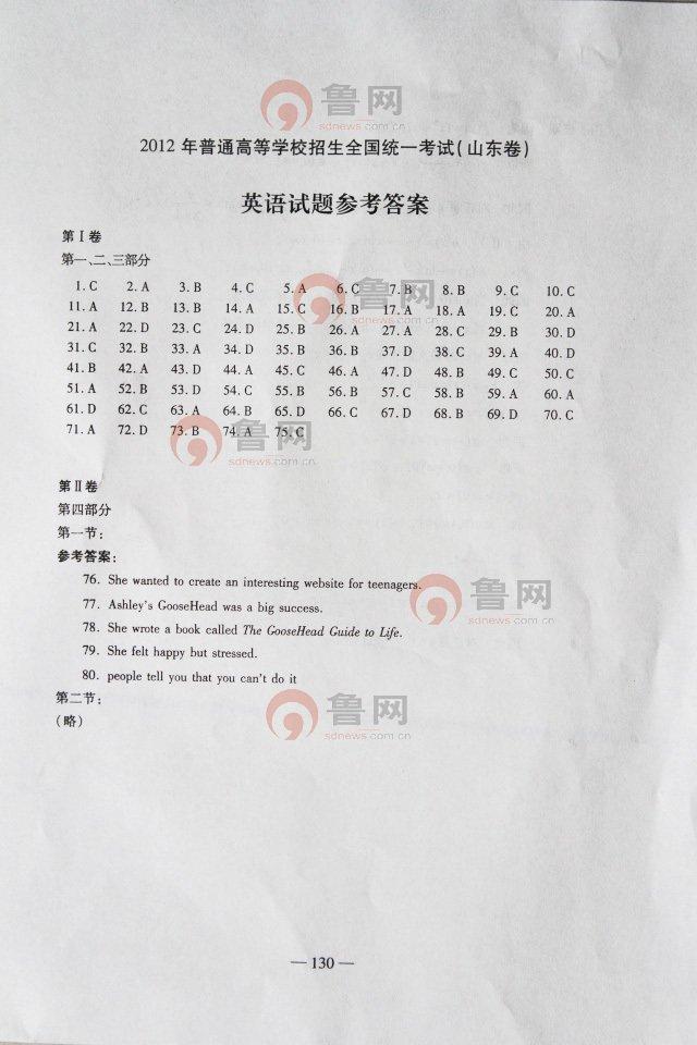 2012山东高考英语试题答案