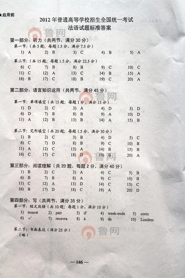 2012年山东高考法语考试试题答案
