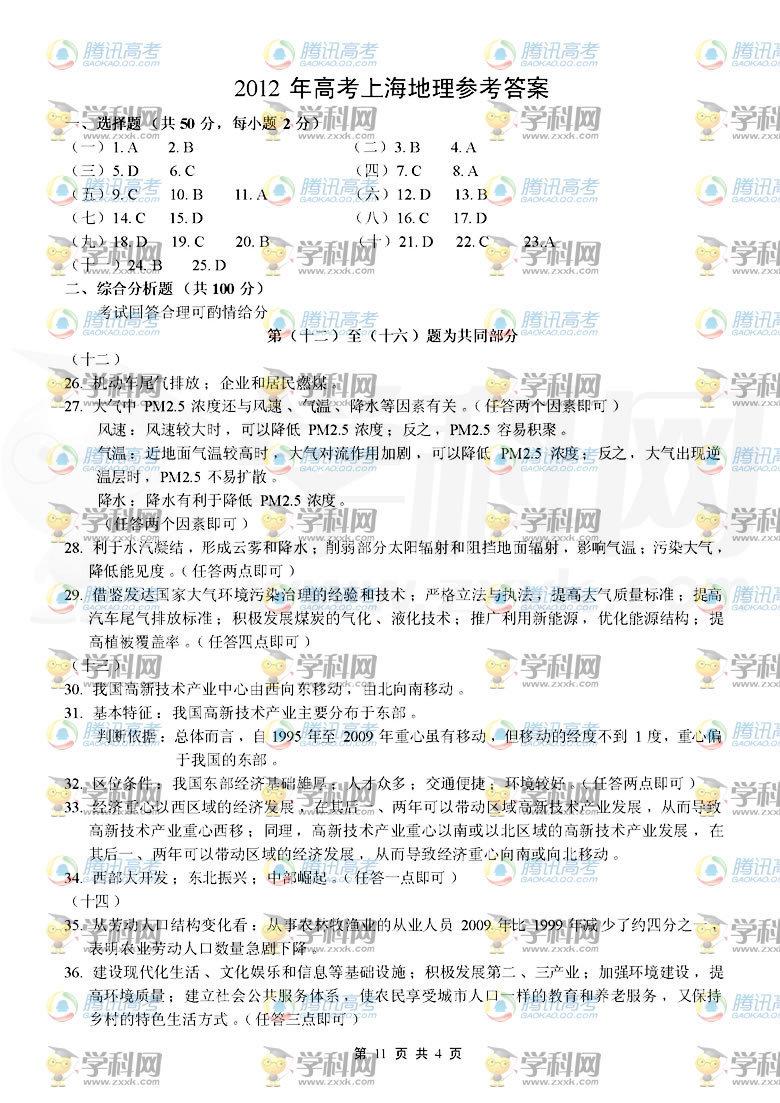 2012上海高考地理答案,2012年上海高考地理答案,2012上海高考地理试题答案,2012年上海高考地理试题答案,