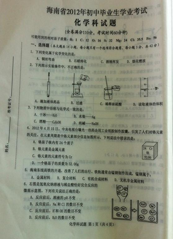 2012海南中考化学试卷及答案