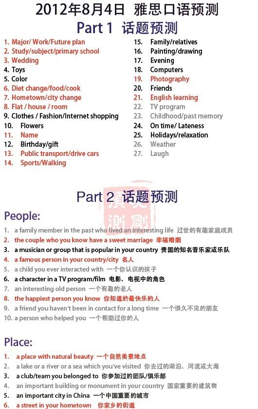 新东方李晓刚:2012年8月4日雅思口语预测 part 1