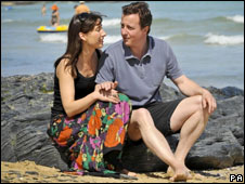 David and Samantha Cameron on holiday