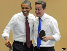 Barack Obama and David Cameron playing table tennis together
