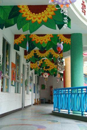 幼儿园走廊吊饰:绿色向日葵