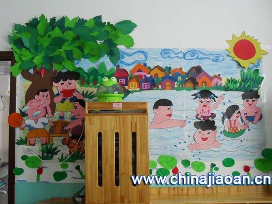 幼儿园夏天主题墙布置 游泳