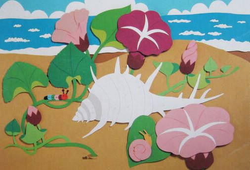 幼儿园主题墙面布置:海螺和牵牛花