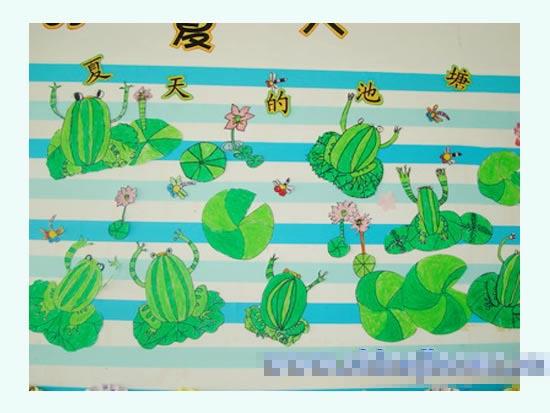 幼儿园主题墙布置:夏天的池塘2