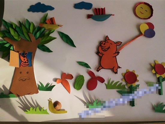 幼儿园半立体主题墙布置:小猪的快乐