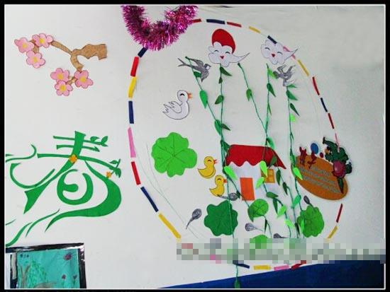 幼儿园春天主题墙:迎春—幼儿园环境布置图片;