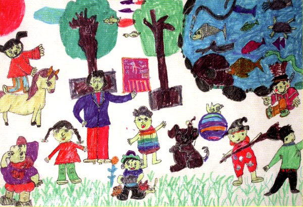 教师节儿童绘画作品7