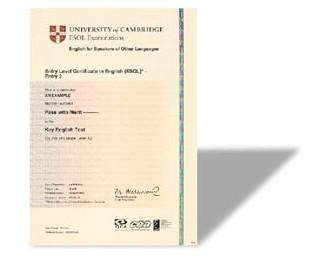 剑桥通用英语FCE考试证书