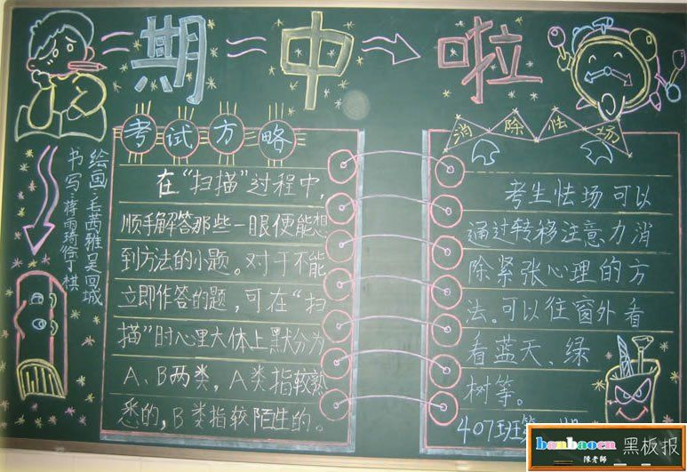 期中考试的黑板报 小学期中考试黑板报
