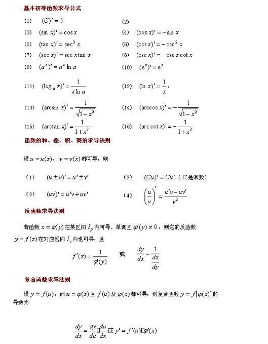 高考数学导数知识点:基本求导法则及导数公式