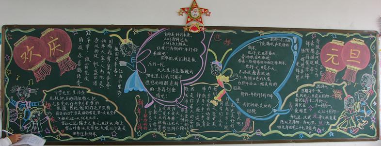 蛇年庆元旦的黑板报 元旦新年祝福