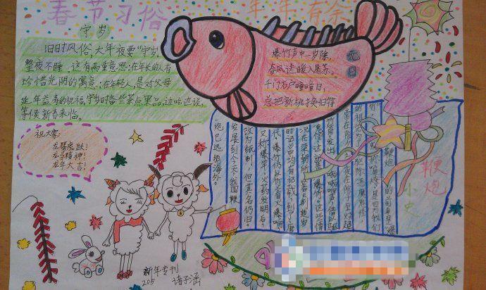快乐寒假手抄报:春节习俗图片