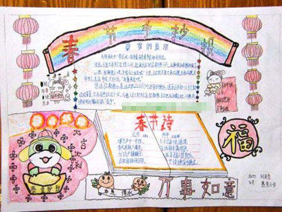 关于新年的手抄报: 春节手抄报-关于新年的手抄报 新年快乐