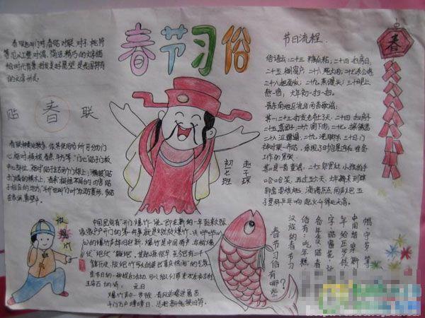 新年手抄报资料:春节习俗-新年手抄报资料 新年到了 二年级