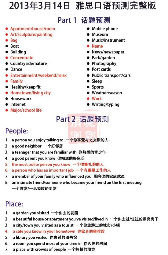 新东方李晓刚:2013年3月14日雅思口语预测