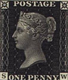 """发行于1840年5月1日的史上第一枚邮票""""黑便士"""""""