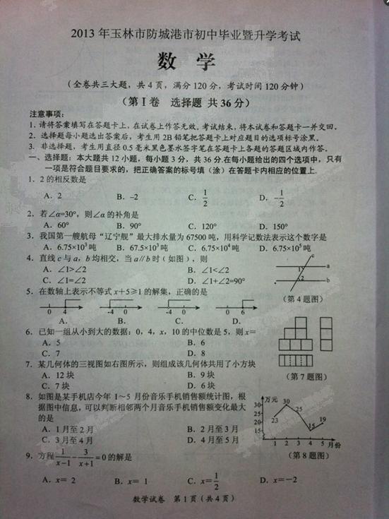 2013广西玉林市防城港市中考数学试卷(图片版