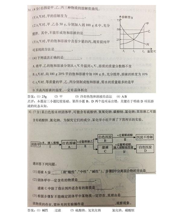 考化学试卷分析