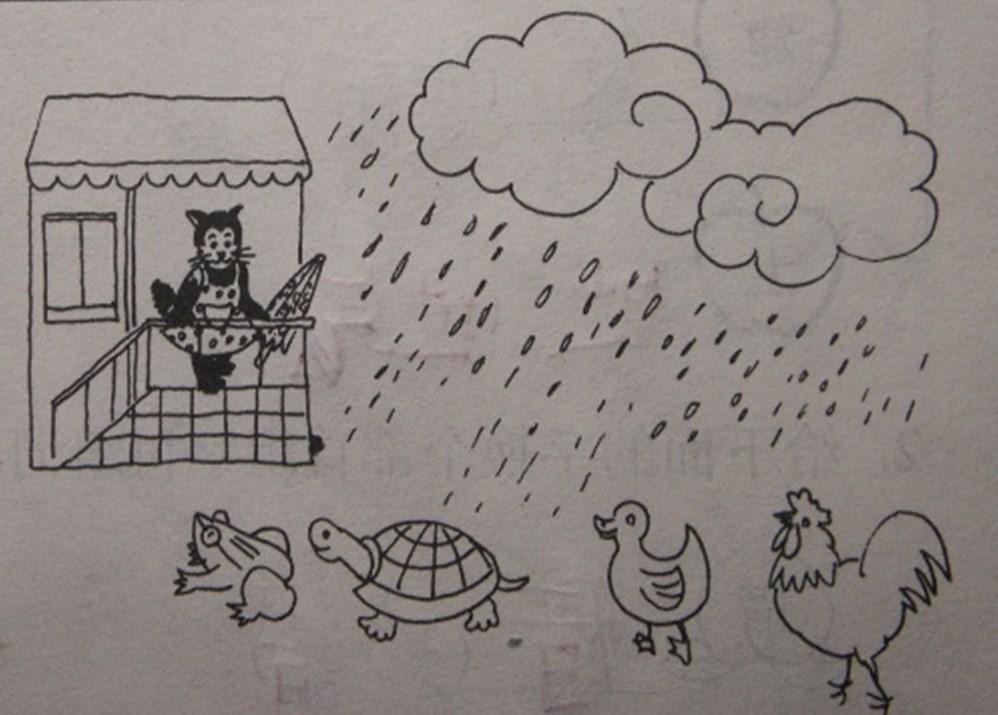 一年级下册看图写话:雨伞该给谁