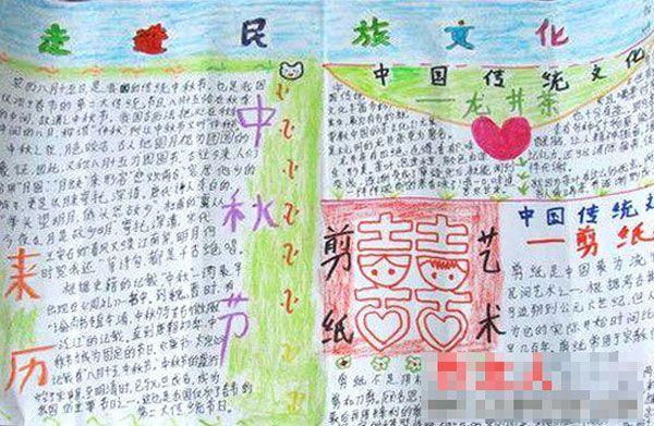 这幅中秋节手抄报制作精美,绘画充满童趣和可爱,对中秋节的介绍丰
