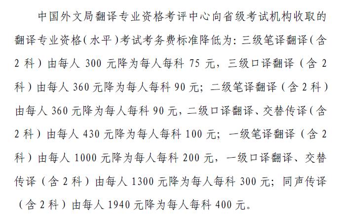 全国翻译资格考试费用