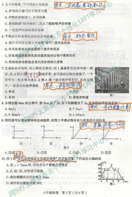 太原新东方1对1学习中心解析初二初中13-14学版人教考纲语文物理