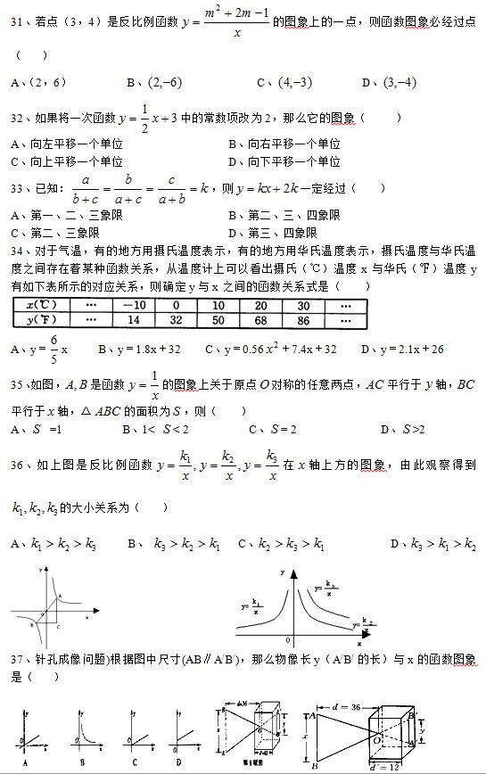 31、若点(3,4)是反比例函数 的图象上的一点,则函数图象必经过点(   ) A、(2,6)         B、             C、         D、  32、如果将一次函数 中的常数项改为2,那么它的图象(    ) A、向左平移一个单位                 B、向右平移一个单位 C、向上平移一个单位                 D、向下平移一个单位 33、已知: ,则 一定经过(   ) A、第一、二、三象限                 B、第二、三、四象限 C、第二、三象限                     D、第三、四象限 34、对于气温,有的地方用摄氏温度表示,有的地方用华氏温度表示,摄氏温度与华氏温度之间存在着某种函数关系,从温度计上可以看出摄氏(℃)温度x与华氏(℉)温度y有如下表所示的对应关系,则确定y与x之间的函数关系式是(   )   A、y= x     B、y=1.8x+32    C、y=0.56 +7.4x+32    D、y=2.1x+26 35、如图, 是函数 的图象上关于原点 对称的任意两点, 平行于 轴, 平行于 轴,△ 的面积为 ,则(   ) A、  =1          B、1<  < 2          C、 = 2              D、 >2 36、如上图是反比例函数 在 轴上方的图象,由此观察得到 的大小关系为(   ) A、      B、     C、            D、                           37、针孔成像问题)根据图中尺寸(AB∥A/B/),那么物像长y(A/B/ 的长)与x的函数图象是(   )
